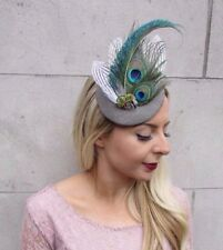 8daa63d18e9ad Soft Grey Green White Tweed Peacock Feather Pillbox Hat Races Fascinator  4420