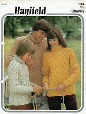 """~ Vintage 1970's Hayfield Knitting Pattern For Family Cable Sweater ~ 30"""" ~ 44"""""""
