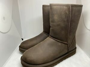 UGG Classic Short II Wool Lined Leather Women's Boot In Brown Size 9 MSRP $175
