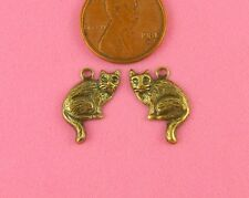 Pair W/Hole - 4 Pc(s) Ant Brass Sitting Kitty Charm Lef/Right