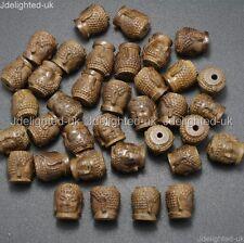 Natural Driftwood Wood Carve Buddha Head Healing Bracelet Connector Charm Beads