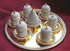 Handmade BRASS Turkish Coffee Espresso Serving Set Swarovski Crystal Coated Cup