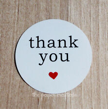 THANK YOU STICKERS White Round Heart Label Seal Bomboniere Gift Favour 60 pcs