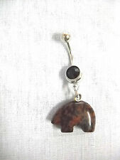 NATIVE ZUNI MAHOGANY OBSIDIAN TOTEM BEAR 3D CHARM & BLACK CZ BELLY BUTTON RING