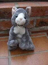 adorable peluche chaton gris aux yeux bleus Ajena toucher velours 22 cm