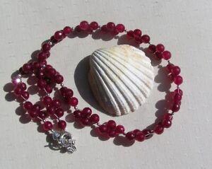 "Natural Pink Ruby Crystal Gemstone Beaded Statement Necklace ""Claret Sprite"""
