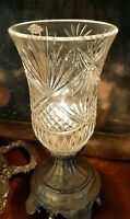 Vintage Torchiere Lamp - Hand Cut Crystal Hurricane Light