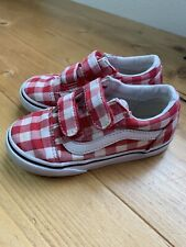 VANS Checkerboard Gingham Shoes Toddler Size 8.5 Red 2 Strap Sneakers Boys Girls