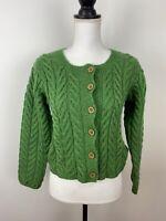 Carraig Donn Merino Wool Cardigan Aran Knit Sweater Women's Size S Green Ireland