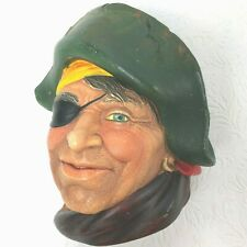 "England Chalkware Character Head Bosson ?? Pirate with Green Hat Eyepatch 6""x 5"""