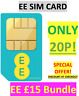 EE Sim Card £15 Bundle Pack Pay As You Go Trio cut Standard/Micro/Nano ONLY 20P