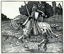 Mounted Knight With Lance Medieval England by Arthur Pyle 1903 6x5 inch Print