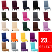 1x Removable Elastic Chair Slipcovers Solid Color Short Dinning Room Seat Covers