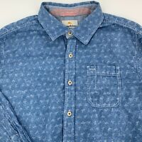 Tommy Bahama Mens Shirt Island Modern Fit Size Medium M Blue Floral Long Sleeve