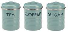 Typhoon Vintage Retro Tea Coffee Sugar Canister Countertop Storage Set Turquoise