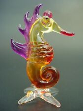 Glass SEAHORSE Painted Glass Animal Ornament Curio Display Glass Figure Gift
