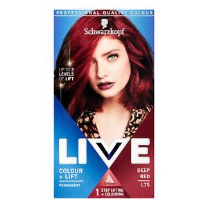 Schwarzkopf Live Intense Colour + Lift L75 Deep Red Permanent Hair Dye