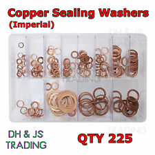 Assorted Box of Copper Sealing Washers Imperial 1/4 5/16 1/8 3/8 1/2  QTY 225