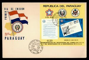 DR WHO 1976 PARAGUAY FDC US BICENTENNIAL CACHET S/S  g10603