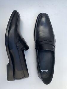 BN Clarks Abaft Road Loafer Slip On All Leather Shoes Black UK 7 EUR 41