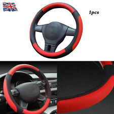 1pcs Black & Red Real Genuine Leather Soft Car Cars Steering Wheel Cover Glove