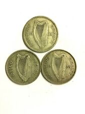 Three Irish Silver Shillings dated 1928 Fine , 1941 VF , 1935 EF