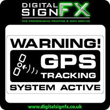 Warning GPS Tracking System Active Laminated Sticker Van Motorbike Car or Lorry