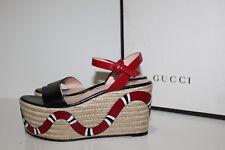 sz 6 / 36 Gucci Barbette Snake Platform Applique Espadrille Wedge Sandal Shoes