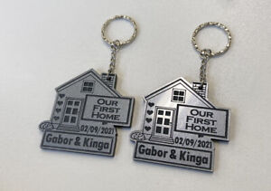 2 x PERSONALISED Silver Our First Home KEYRINGS House Warming With FREE GIFT BAG