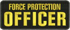 Force Protection Officer embroidery patches 4x10 hook ON BACK round gold