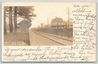 Hyde Park MA Hazelwood Railroad Depot~Home w/Mansard Roof~West Roxbury RPPC 1905