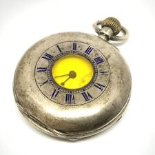 Antique Victorian sterling silver half hunter pocket watch #202