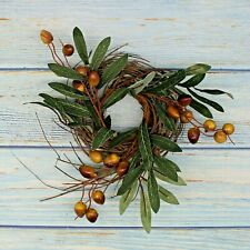 Artificial Olive Branch and Twig Green Wreath, Christmas Wedding Decor, 9-Inch