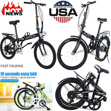 20in Folding Full Suspension City Bicycle 7 Speed Mini Compact Road Bike US