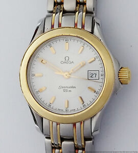 18k Gold SS Ladies Omega Seamaster Date Two Tone Wrist Watch Papers
