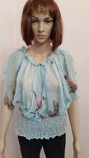 NEW WITH TAG ~ AQUA BUTTERFLY PRINT CHIFFON TOP~SIZE 10 RRP $39.00