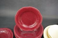 Set of 2 Pottery Barn Emma Salad Plates Shallow Bowls Red Maroon Burgundy 8""