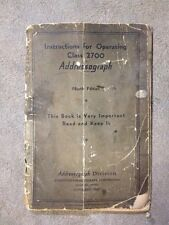Vintage Addressograph Model Class 2700 Operating Instructions 4th Edition