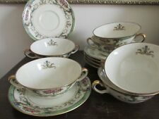 Black Knight Bavaria Germany Hathaway Set Of 6 Cream Soup Bowl Cup And Saucer