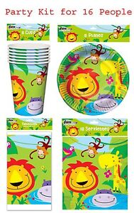Animal Lion Jungle Birthday Party Pack Jungle Party Table Ware Kit for 16 People