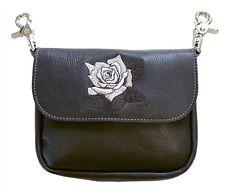 Genuine Leather Belt Bag - Hip Clip Purse - Embroidered Silver Rose - USA MADE