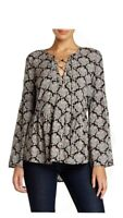 DANIEL RAINN Poet Lace Up Front Blouse Floral Long Sleeve Womens Size S Small