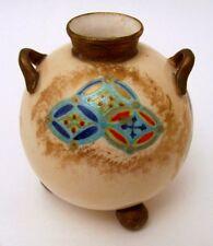 Rare Antique Hand Painted Worcester Enamel Decoration Miniature Ball Vase 1878
