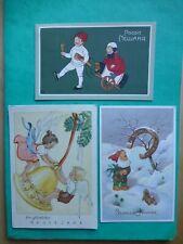 3 AK Neujahr, Zwerge, Kinder, Engel, 2x gel., 1x ungel.