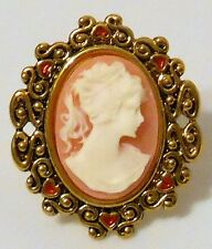 Ring Crystal Rhinestone Gold-Plated Brass Orange Peach White Oval Woman Cameo