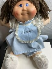 Vintage 1986 Cabbage Patch Kid Doll Little Girl Brown Hair Blue Eyes Pig Tails