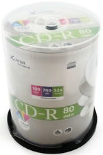 100 Xlayer Printable White Blank CD CD-R discs 52x 700MB 80 mins in cakebox
