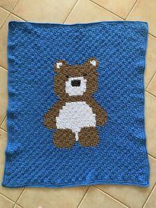 Handmade Crochet Blue Teddy Bear Baby Blanket