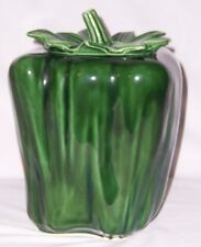 Vintage Fun McCoy GREEN PEPPER COOKIE JAR With LID 157 Oven Proof Neat!
