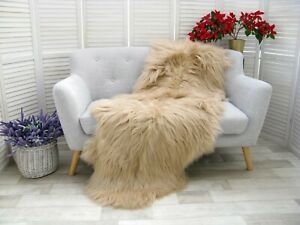 Real ICELANDIC DOUBLE Sheepskin Rug Hide Beige Dyed Sofa FLOOR Bed Cover D35